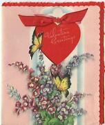 Vintage 1940s Valentineand039s Day Garden Flowers Larkspur Butterfly Greeting Card