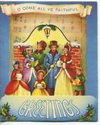 Vintage Christmas Victorian Carolers Come All Ye Faithful Stand Up Greeting Card