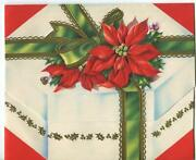 Vintage Christmas Poinsettia Flower Green Gold Ribbon Bow Embossed Greeting Card