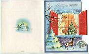 Vintage Christmas Deer Spotted Fawn Tree House Snow Red Shutters Greeting Card