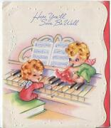 Vintage Angels Fairy Piano Music Trumpet Flower Notes Embossed Greeting Art Card