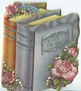 Vintage Silver Gold Books Pink Roses Flowers Embossed Small Gift Greeting Card
