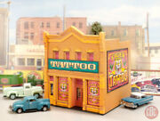 New N Scale Tattoo Parlor Custom Built Up Weathered Structure Dpm Building