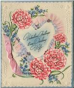 Vintage 1940s Valentineand039s Day Pink Carnations Music Notes Embossed Greeting Card