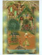 Folk Art Cottage Woman Ocean Cottage Morning Glories Wishing Well Signed Print
