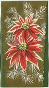 Vintage Christmas Art Nouveau Gold Silver Red Poinsettia Embossed Greeting Card