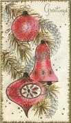 Vintage Christmas Pink Silver Mcm Embossed Ornaments Silver Gold Greeting Card