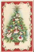Vintage Christmas Tree Snowman Snow Girl Ornaments Star Holly Gold Greeting Card