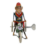 Vintage Wind Up Monkey Rider Riding A Car Clockwork Model Toys Collectibles