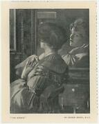 Antique Victorian Woman Mirror Reflection Artist George Henry Small Art Print