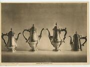 Antique Paper Art Print Of Sterling Silver Coffee And Chocolate Pots Lantern Shape