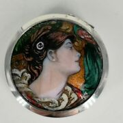 Art Nouveau Tin In Silver With Finest Email Painting