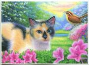 Aceo Lady Ashley Cat Asiastic Pink Lily Garden Flower Nature Meadowlark Print