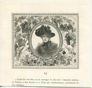 Antique Victorian Woman Mourning Sorrow Hat Dress Grapes Pansies Lattice Print