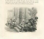 Antique Victorian House Door Iron Gate Stairs Entrance Way Spider Mums Art Print
