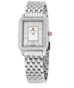 Michele Deco Mother Of Pearl And Diamond Silver Stainless Steel Womenand039s Wristwatch