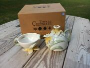 Dept 56 Daffodil Tea For One Time To Celebrate Stacking Teapot And Teacup Set