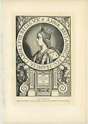 Antique Portrait Of Anne Of Brittany Cross Necklace Crown Medal Old Art Print