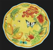 Dept 56 Butterfly Fruit Bee Ladybug Dragonfly Scalloped Thick 9 Salad Plate