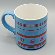 Mt Clemens Pottery Born In The Usa Mug Blue Red Patriotic America Veteran Gift