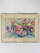 1950and039s Floral Still Life Of Fatigued Tulips Signed Gianelli 27andfrac14 X 36andfrac12