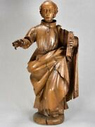 18th Century Walnut Religious Sculpture Of A Monk 34andfrac34