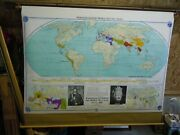 Vintage Large Denoyer-geppert Pull Down Map Barbarian Invasions World Religions