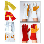Mig Welding Gloves 14 Inch Cowhide Barbecue Fire Pits Wood Stoves Tools