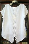 Nwt Terzo Millennio Made In Italy Back Crochet 100 Linen Hi/lo Top Blouse S