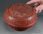 Chinese Carved Cinnabar Lacquer Box, Trees And Rocks, Scrolling Lotus, 18/19th C