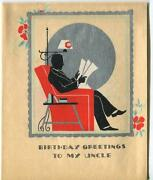 Vintage 1930s Deco Silhouette Man Black Suit Red Chair Woodblock Scotty Dog Card