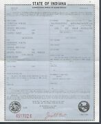 1964 Chevy Corvair Monza Convertible Indiana Title Signed Historical Document