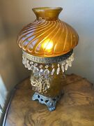 Vintage Amber Lamp With Grapes On Glass W/ Crystal Prisms