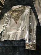 1980s Stunning Vintage Silver Leather And Sequin Suit Custom, Pierre Nunaua