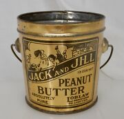 Jack And Jill Peanut Butter Advertising Food Tin Pail Can - 83933