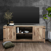 58 Farmhouse Barn Door Tv Stand Wooden Media Console W/ Shelves For 65and039and039 Tvs