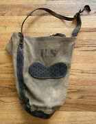 Vtg Antique Us Mail Wwi Horse Feed Canvas And Leather Bag Sack Carrier P.c. Co