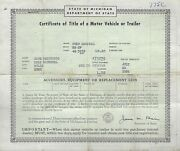 1948 Ford 2 Door Coupe Michigan Title Notarized Historical Document