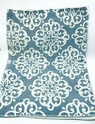 Blue And White Cotton Runner Rug Mat Farmhouse Cottage Boho Made In India