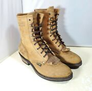 Adtec Boots 9224 Brown Leather 9and039and039 Packer Western Roper Boots Menand039s Size 10.5 W