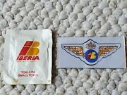 Iberia Airlines Vintage Pilot Wing Sticker Patch And Toallita Small Towel Espana