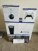 Sony Playstation 5 Disc Edition Console White 3 Game Headset Controller Bundle