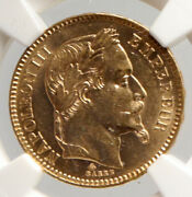 1865 A France Emperor Napoleon Iii Antique Gold 20 Franc French Ngc Coin I94027