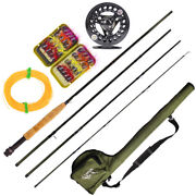 Fishing Combo Set Carbon Fiber Rod 2.7m Fly Reel 4m Line Lures Fly Carrying Bag