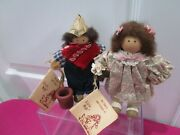 2 Vintage Ladie And Friends Lizzie High Primitive Dolls And Girl 1989
