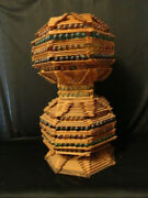 Vintage Prison Art Lamp Crafted With Popsicle Sticks And Colorful Marbles