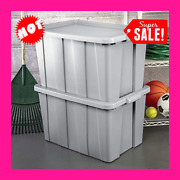 Large Storage Container Bin Plastic Tote 30 Gallon Lid Box Stackable Blue 4-pack