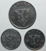 Norwegian Wwii German Occupation 3 Coin Lot 1 2 Andoslashre 1942 1943 1944 One Two Ore