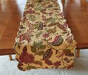 Candf Jacobean Quilted Floral Table Runner Scalloped Reversible Stripe 14x53