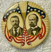 1904 Roosevelt-fairbanks 1 1/4andrdquo Cello Button Graphic Scarce And Exc Cond